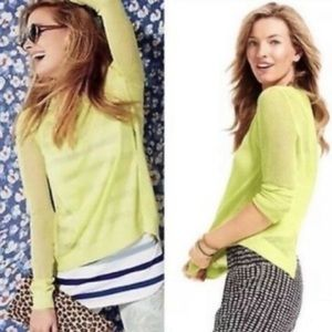 CAbi small Sweater Top Split Back Yellow